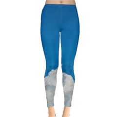 Sky Clouds Blue White Weather Air Leggings