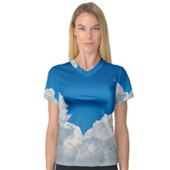 Sky Clouds Blue White Weather Air Women s V Neck Sport Mesh Tee