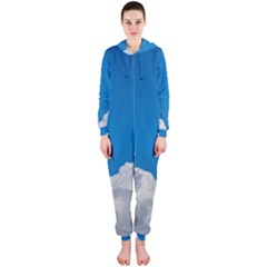 Sky Clouds Blue White Weather Air Hooded Jumpsuit (Ladies)