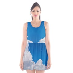 Sky Clouds Blue White Weather Air Scoop Neck Skater Dress