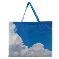 Sky Clouds Blue White Weather Air Zipper Large Tote Bag
