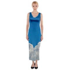 Sky Clouds Blue White Weather Air Fitted Maxi Dress