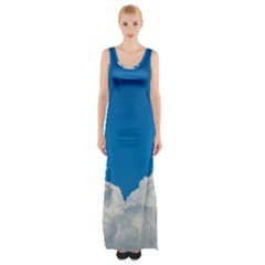 Sky Clouds Blue White Weather Air Maxi Thigh Split Dress