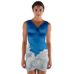 Sky Clouds Blue White Weather Air Wrap Front Bodycon Dress