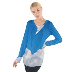 Sky Clouds Blue White Weather Air Women s Tie Up Tee