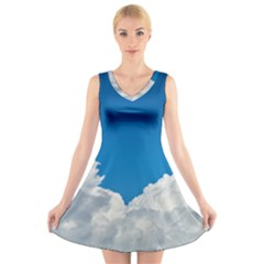 Sky Clouds Blue White Weather Air V-Neck Sleeveless Skater Dress