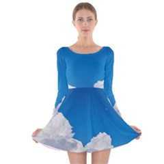 Sky Clouds Blue White Weather Air Long Sleeve Velvet Skater Dress