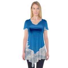Sky Clouds Blue White Weather Air Short Sleeve Tunic