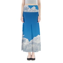 Sky Clouds Blue White Weather Air Full Length Maxi Skirt