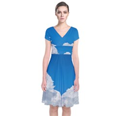 Sky Clouds Blue White Weather Air Short Sleeve Front Wrap Dress