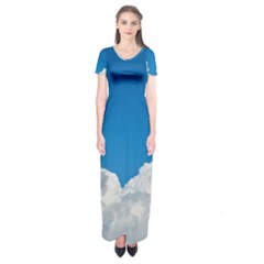 Sky Clouds Blue White Weather Air Short Sleeve Maxi Dress
