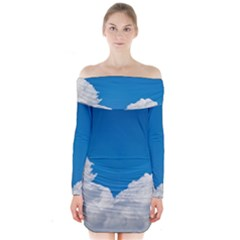 Sky Clouds Blue White Weather Air Long Sleeve Off Shoulder Dress