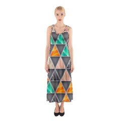 Abstract Geometric Triangle Shape Sleeveless Maxi Dress