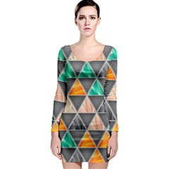 Abstract Geometric Triangle Shape Long Sleeve Bodycon Dress