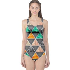Abstract Geometric Triangle Shape One Piece Swimsuit