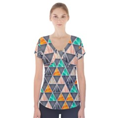 Abstract Geometric Triangle Shape Short Sleeve Front Detail Top
