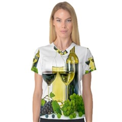 White Wine Red Wine The Bottle Women s V-Neck Sport Mesh Tee