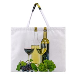 White Wine Red Wine The Bottle Zipper Large Tote Bag