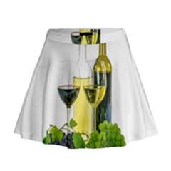 White Wine Red Wine The Bottle Mini Flare Skirt