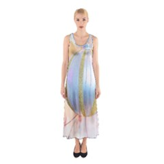Sphere Tree White Gold Silver Sleeveless Maxi Dress