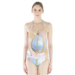 Sphere Tree White Gold Silver Halter Swimsuit