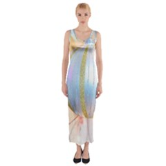 Sphere Tree White Gold Silver Fitted Maxi Dress