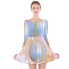 Sphere Tree White Gold Silver Long Sleeve Velvet Skater Dress