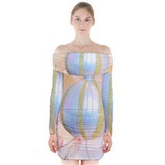 Sphere Tree White Gold Silver Long Sleeve Off Shoulder Dress