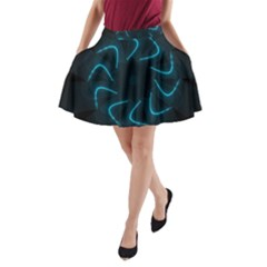 Background Abstract Decorative A Line Pocket Skirt