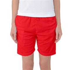 Solid Christmas Red Velvet Women s Basketball Shorts
