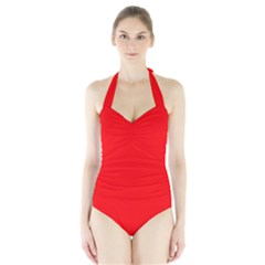 Solid Christmas Red Velvet Halter Swimsuit