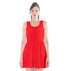 Solid Christmas Red Velvet Scoop Neck Skater Dress