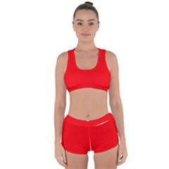 Solid Christmas Red Velvet Racerback Boyleg Bikini Set
