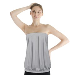 Solid Christmas Silver Strapless Top