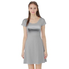 Solid Christmas Silver Short Sleeve Skater Dress