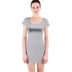 Solid Christmas Silver Short Sleeve Bodycon Dress