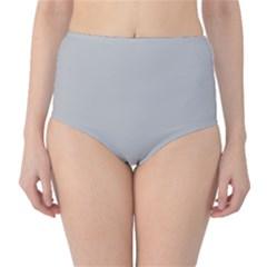 Solid Christmas Silver High-Waist Bikini Bottoms