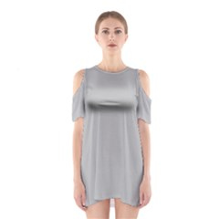 Solid Christmas Silver Shoulder Cutout One Piece