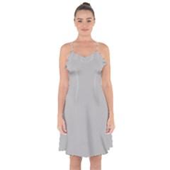 Solid Christmas Silver Ruffle Detail Chiffon Dress