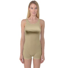 Solid Christmas Gold One Piece Boyleg Swimsuit