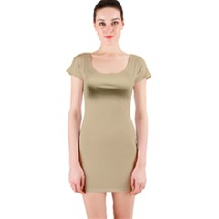 Solid Christmas Gold Short Sleeve Bodycon Dress
