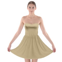 Solid Christmas Gold Strapless Bra Top Dress