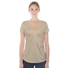 Solid Christmas Gold Short Sleeve Front Detail Top