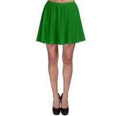Solid Christmas Green Velvet Classic Colors Skater Skirt