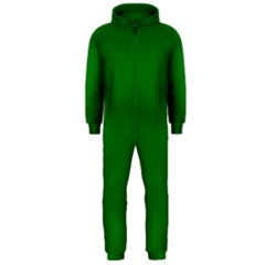 Solid Christmas Green Velvet Classic Colors Hooded Jumpsuit (Men)