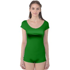 Solid Christmas Green Velvet Classic Colors Boyleg Leotard