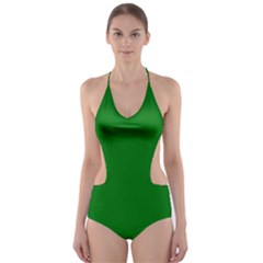 Solid Christmas Green Velvet Classic Colors Cut-Out One Piece Swimsuit