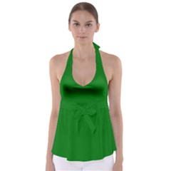 Solid Christmas Green Velvet Classic Colors Babydoll Tankini Top
