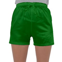 Solid Christmas Green Velvet Classic Colors Sleepwear Shorts