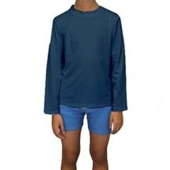 Solid Christmas Silent night Blue Kids  Long Sleeve Swimwear